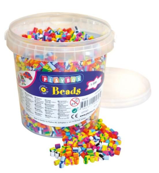 Playbox Dose 5000 Stück Midi Perlen gestreift